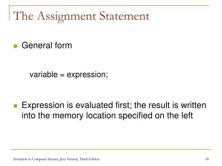 The Assignment Statement