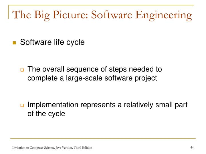 The Big Picture: Software Engineering