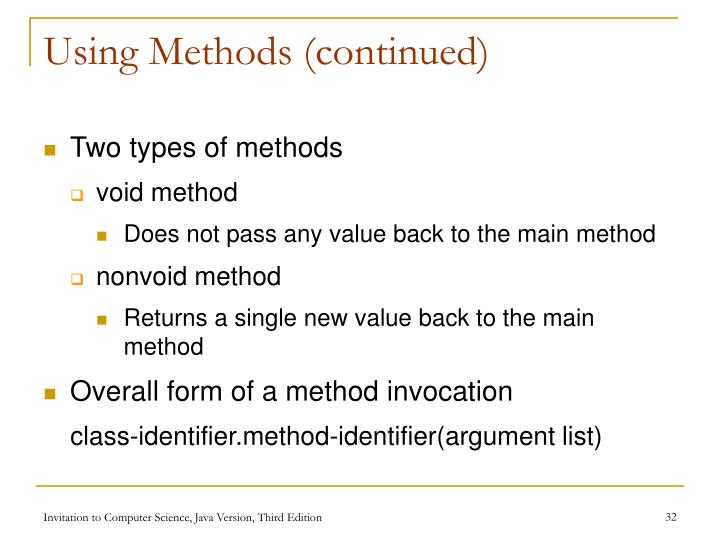 Using Methods (continued)