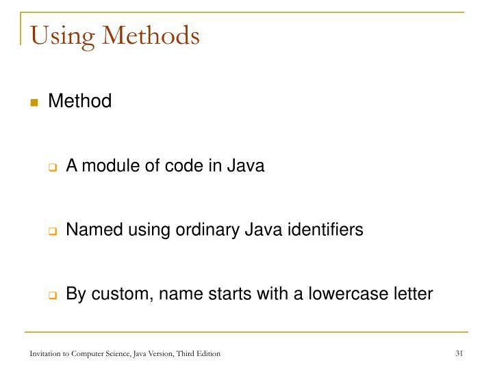 Using Methods
