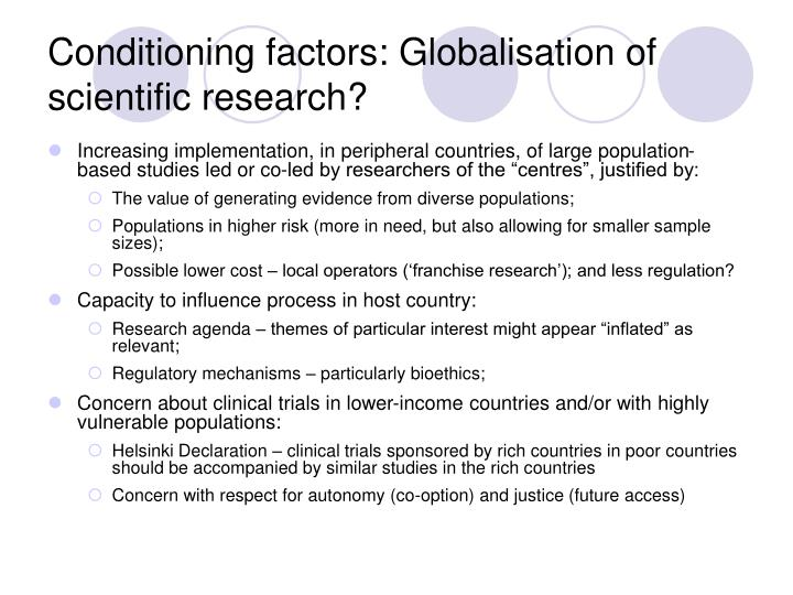 Conditioning factors: Globalisation of scientific research?