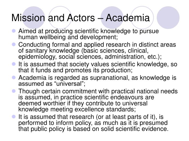 Mission and Actors – Academia