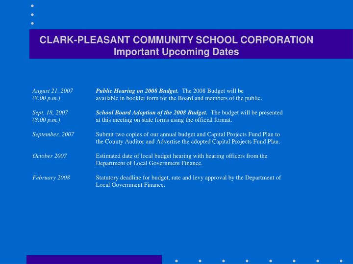 Clark pleasant community school corporation important upcoming dates