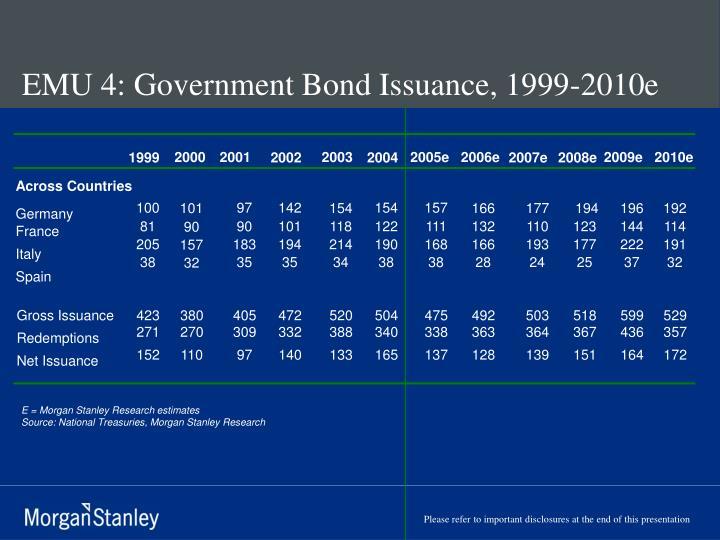 EMU 4: Government Bond Issuance, 1999-2010e