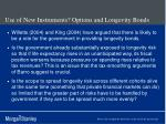 use of new instruments options and longevity bonds1