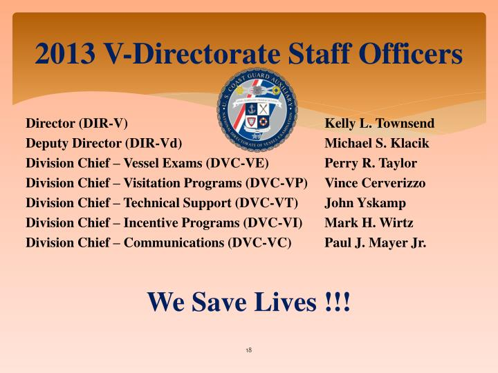 2013 V-Directorate Staff Officers