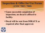 inspection offer for use forms ansc 7003 70081