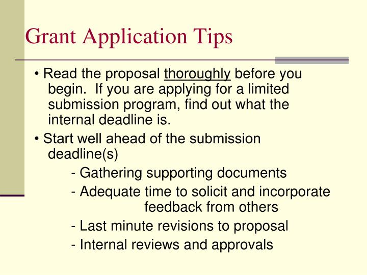 Grant Application Tips