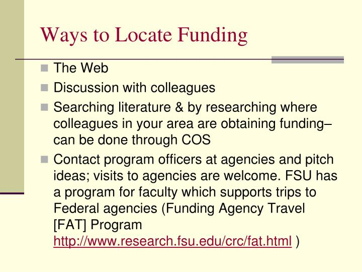 Ways to Locate Funding