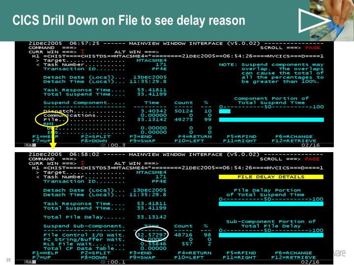 CICS Drill Down on File to see delay reason