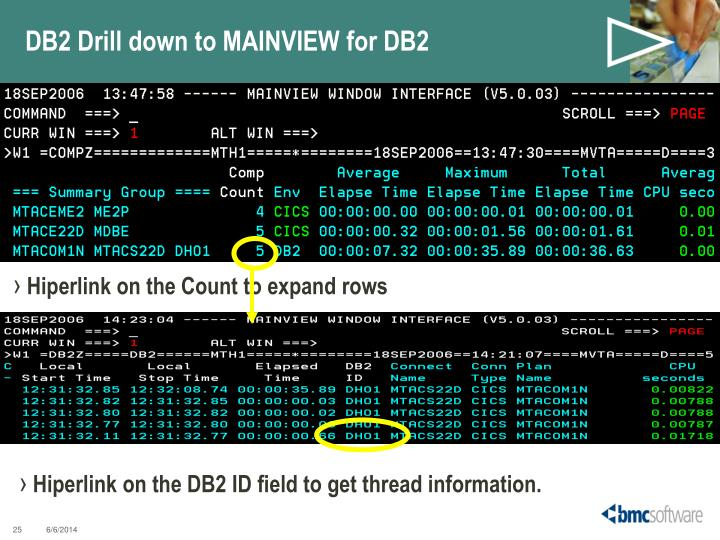 DB2 Drill down to MAINVIEW for DB2