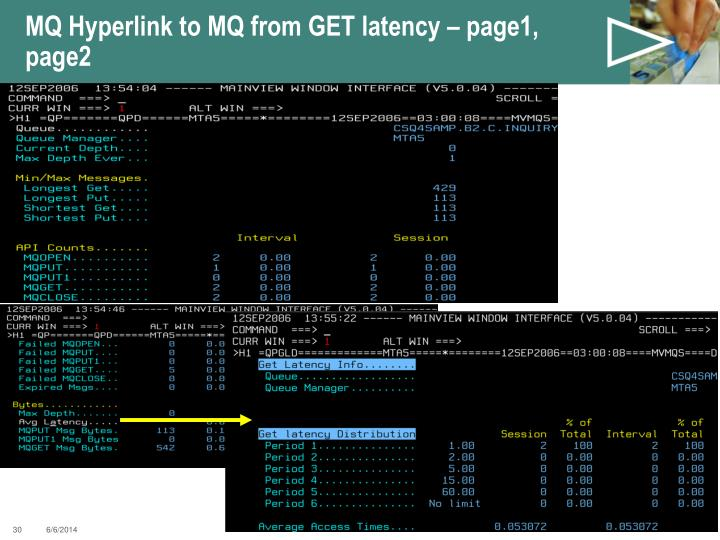MQ Hyperlink to MQ from GET latency – page1, page2