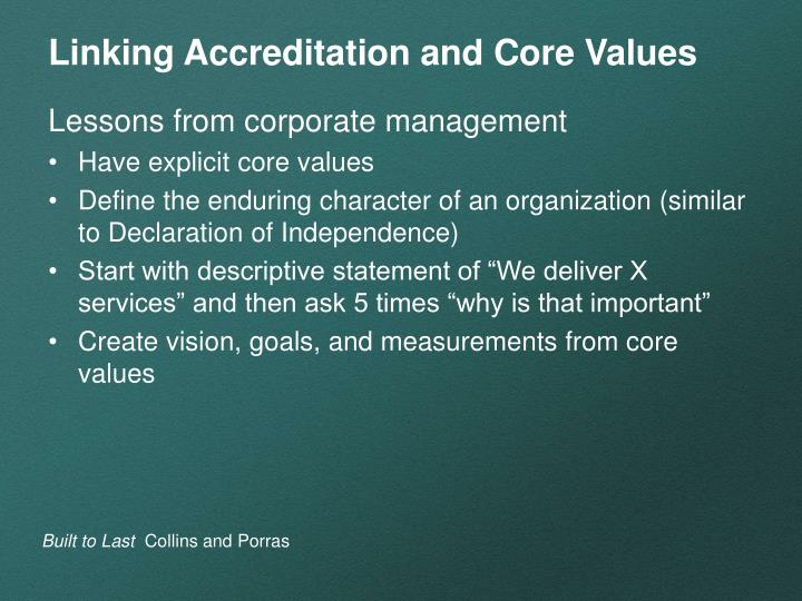 Linking Accreditation and Core Values