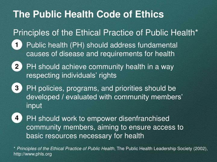 The Public Health Code of Ethics