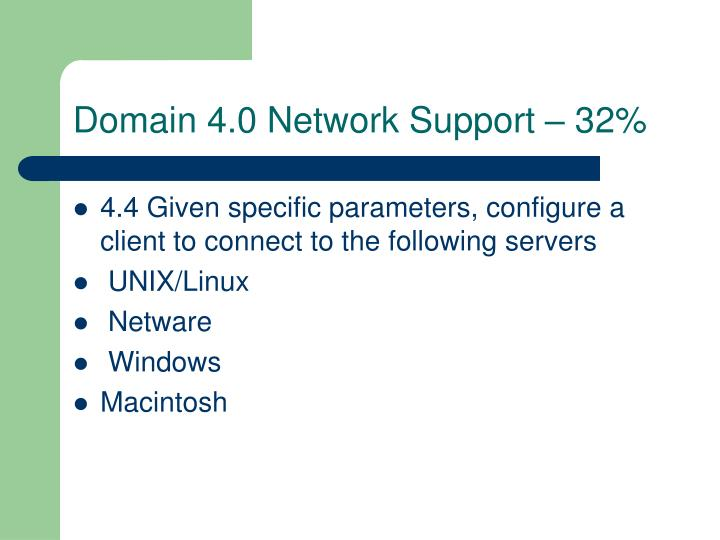 Domain 4.0 Network Support – 32%