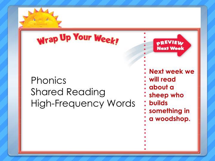 Next week we will read