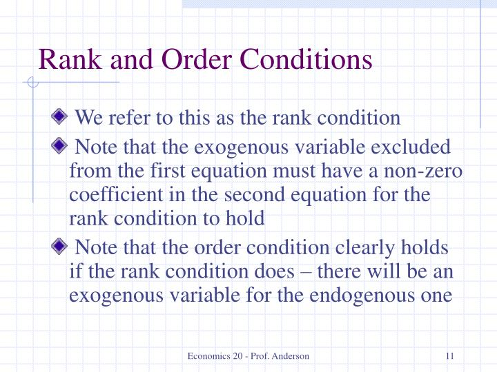 Rank and Order Conditions
