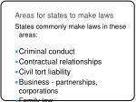 areas for states to make laws
