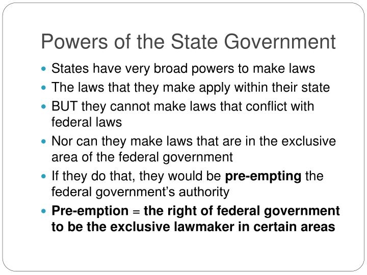 Powers of the State Government