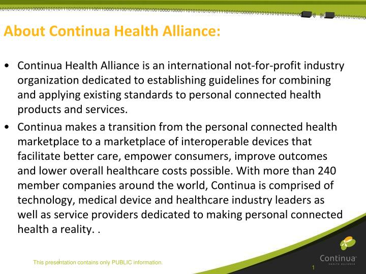 About continua health alliance