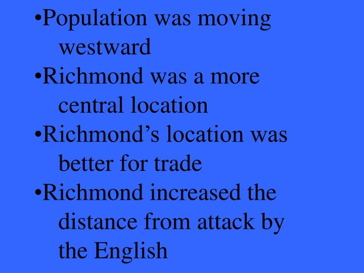 Population was moving