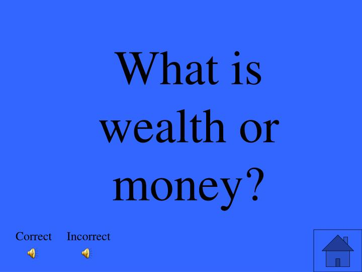 What is wealth or money?