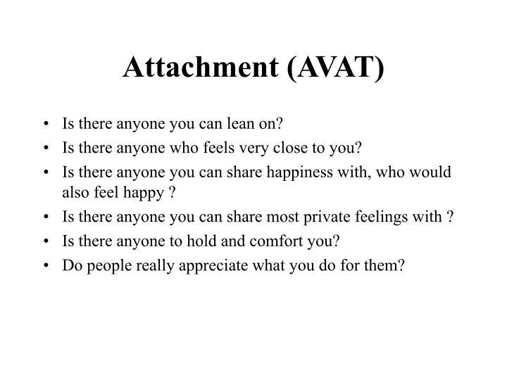 Attachment (AVAT)