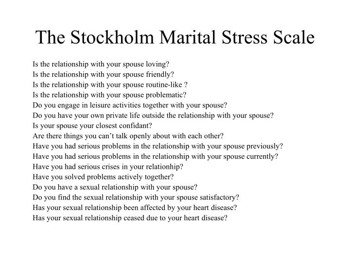 The Stockholm Marital Stress Scale