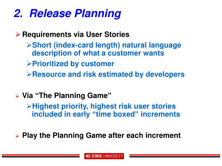 2.  Release Planning