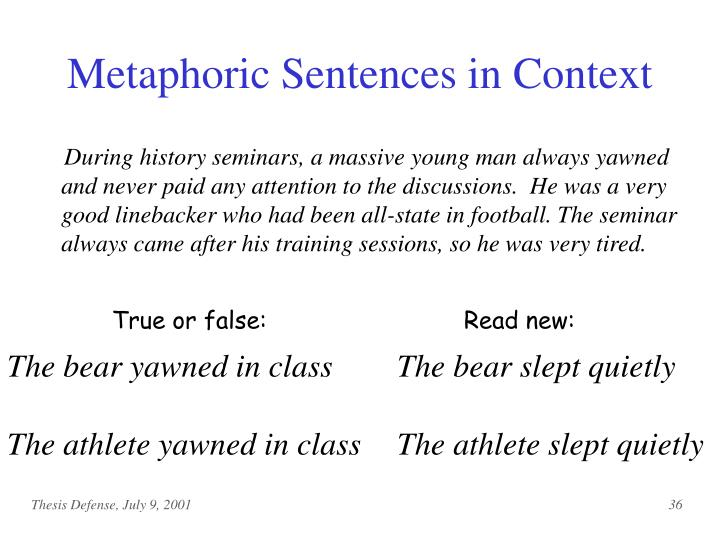 Metaphoric Sentences in Context