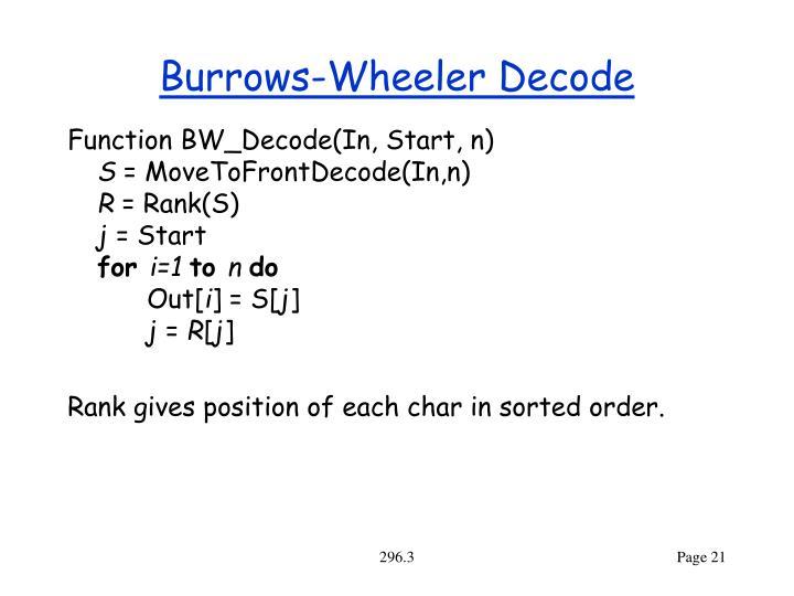 Burrows-Wheeler Decode