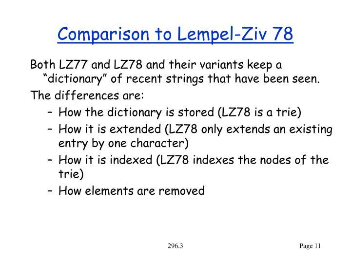 Comparison to Lempel-Ziv 78