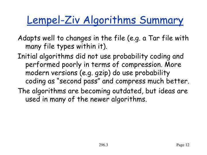 Lempel-Ziv Algorithms Summary