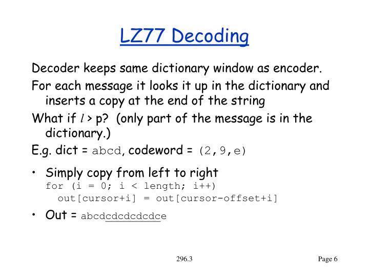 LZ77 Decoding