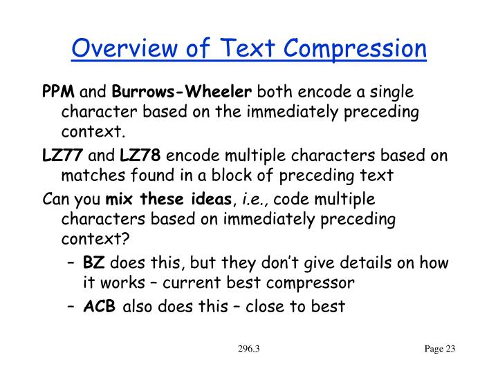 Overview of Text Compression