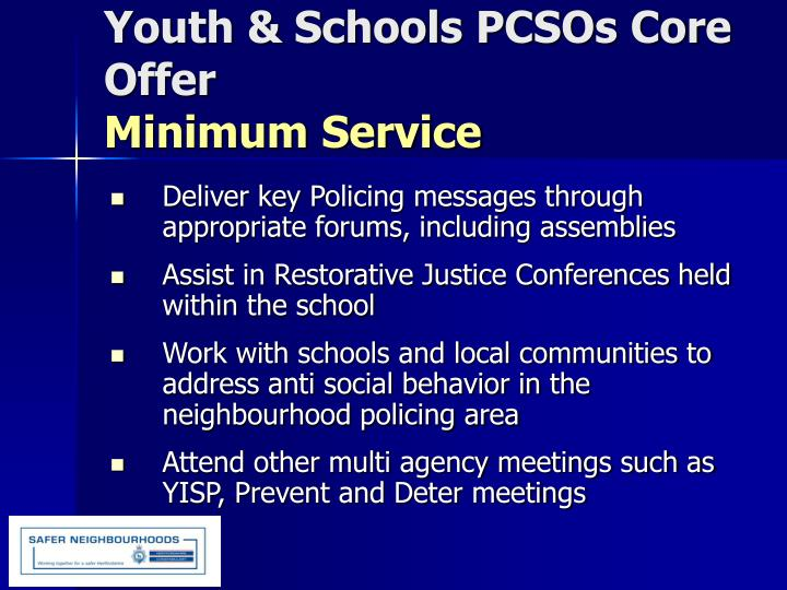 Youth & Schools PCSOs Core Offer