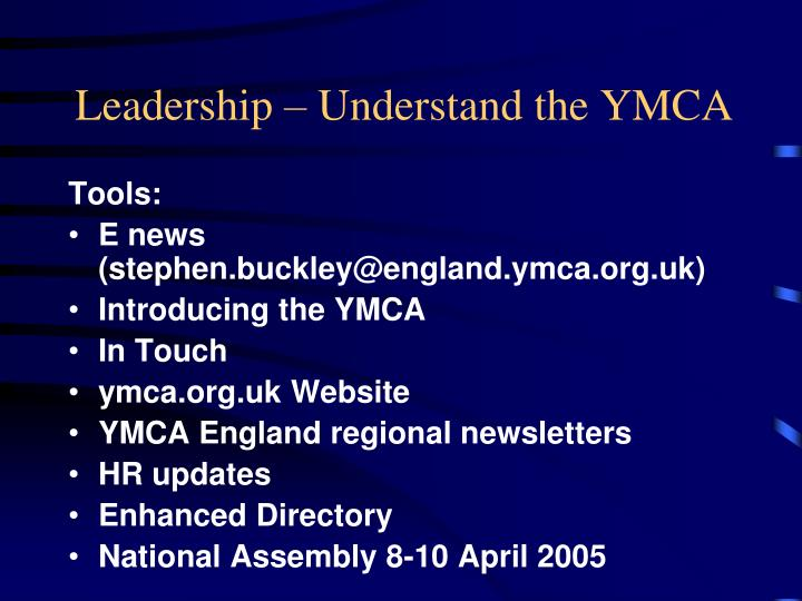 Leadership – Understand the YMCA