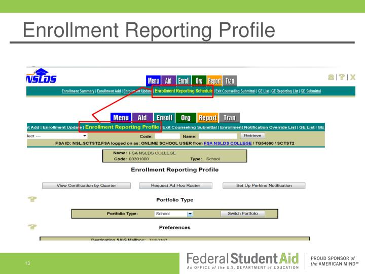 Enrollment Reporting Profile