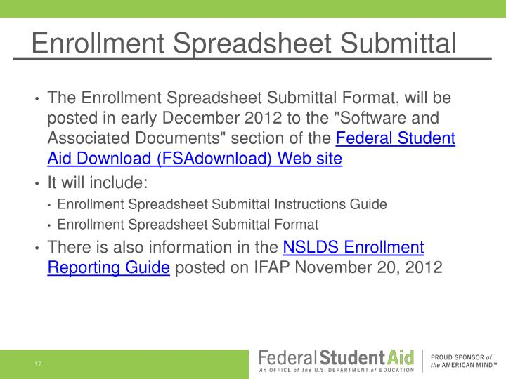 Enrollment Spreadsheet Submittal