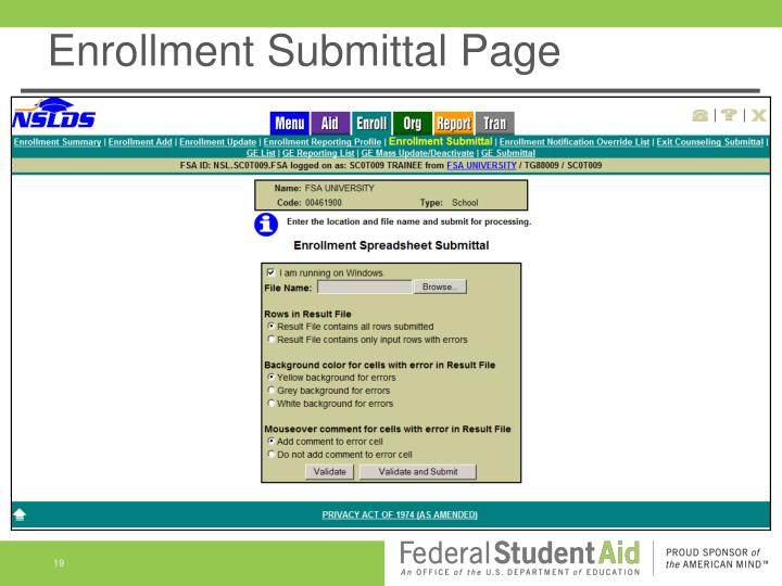 Enrollment Submittal Page