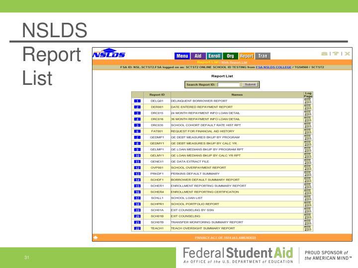 NSLDS                                            Report