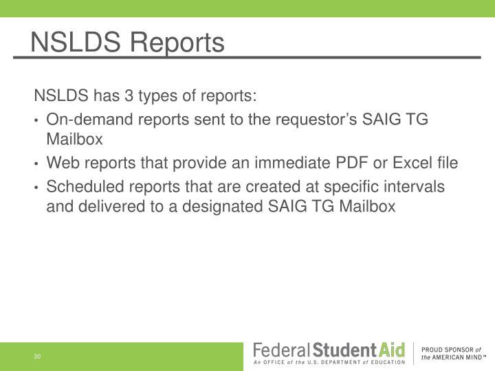 NSLDS Reports
