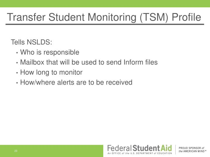 Transfer Student Monitoring (TSM) Profile