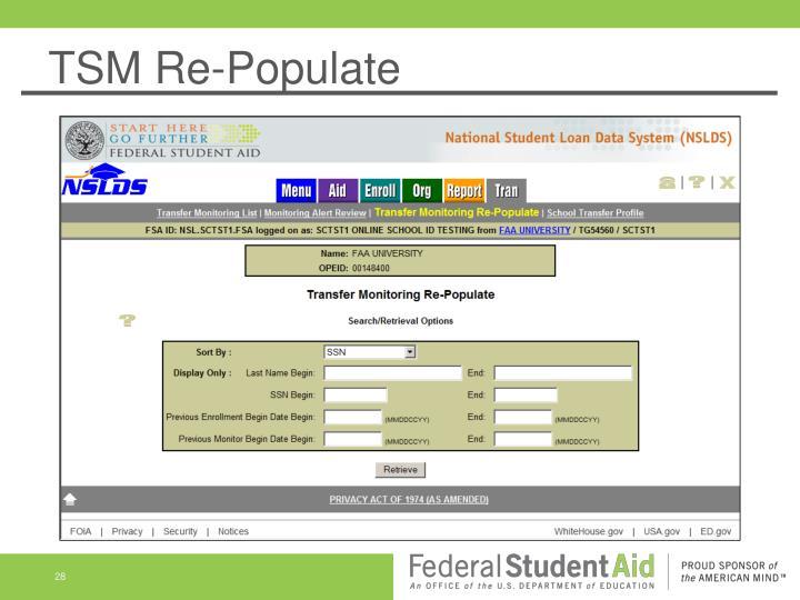 TSM Re-Populate
