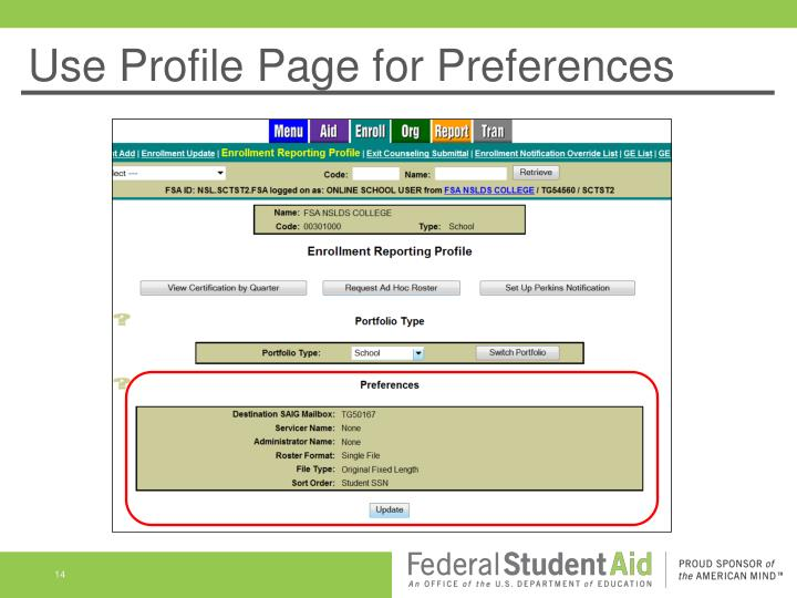 Use Profile Page for Preferences