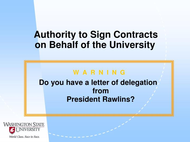 Authority to Sign Contracts