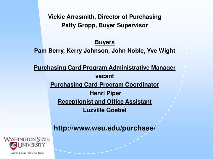 Vickie Arrasmith, Director of Purchasing