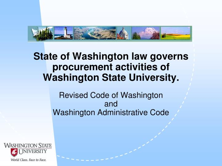 State of Washington law governs procurement activities of