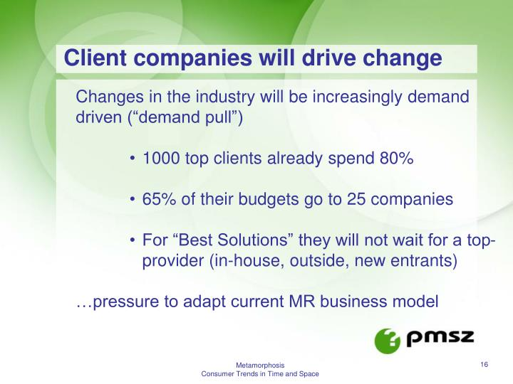 Client companies will drive change