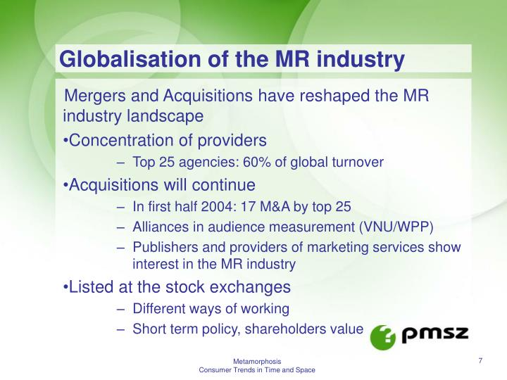 Globalisation of the MR industry